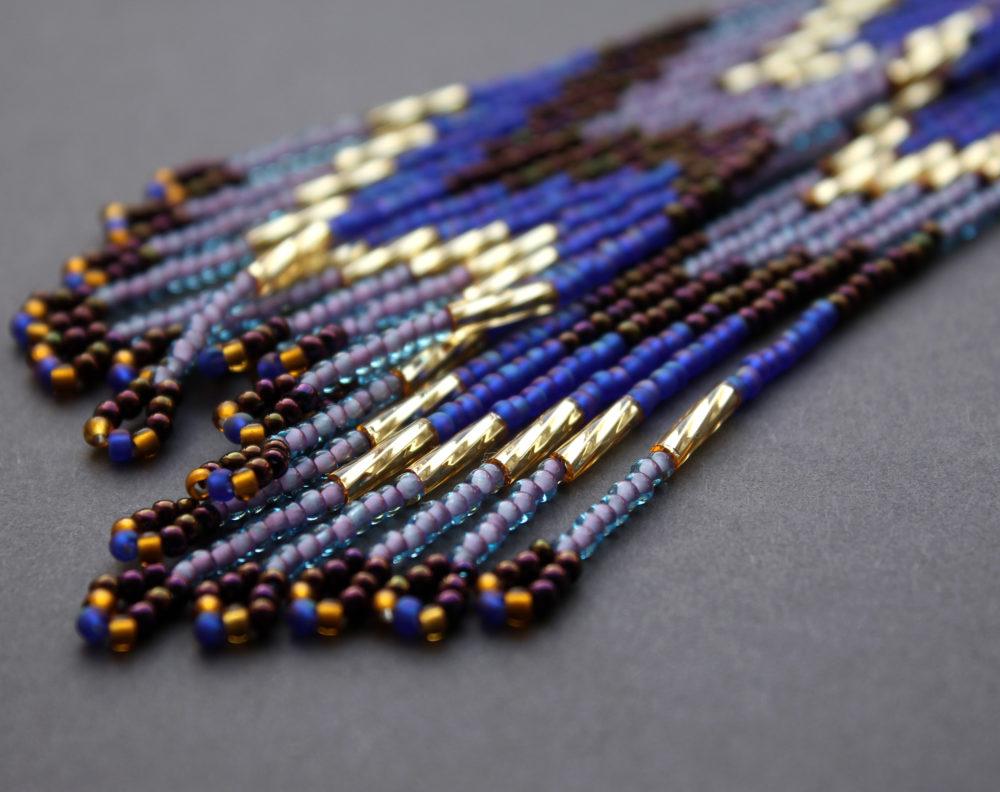 купить фиолетовые серьги из бисера