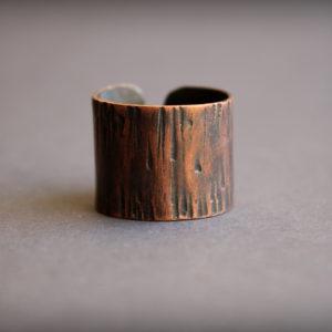 Широкое кольцо из меди в стиле этно