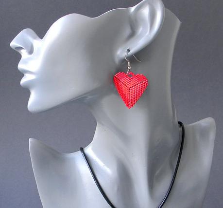 серьги красные сердца купить