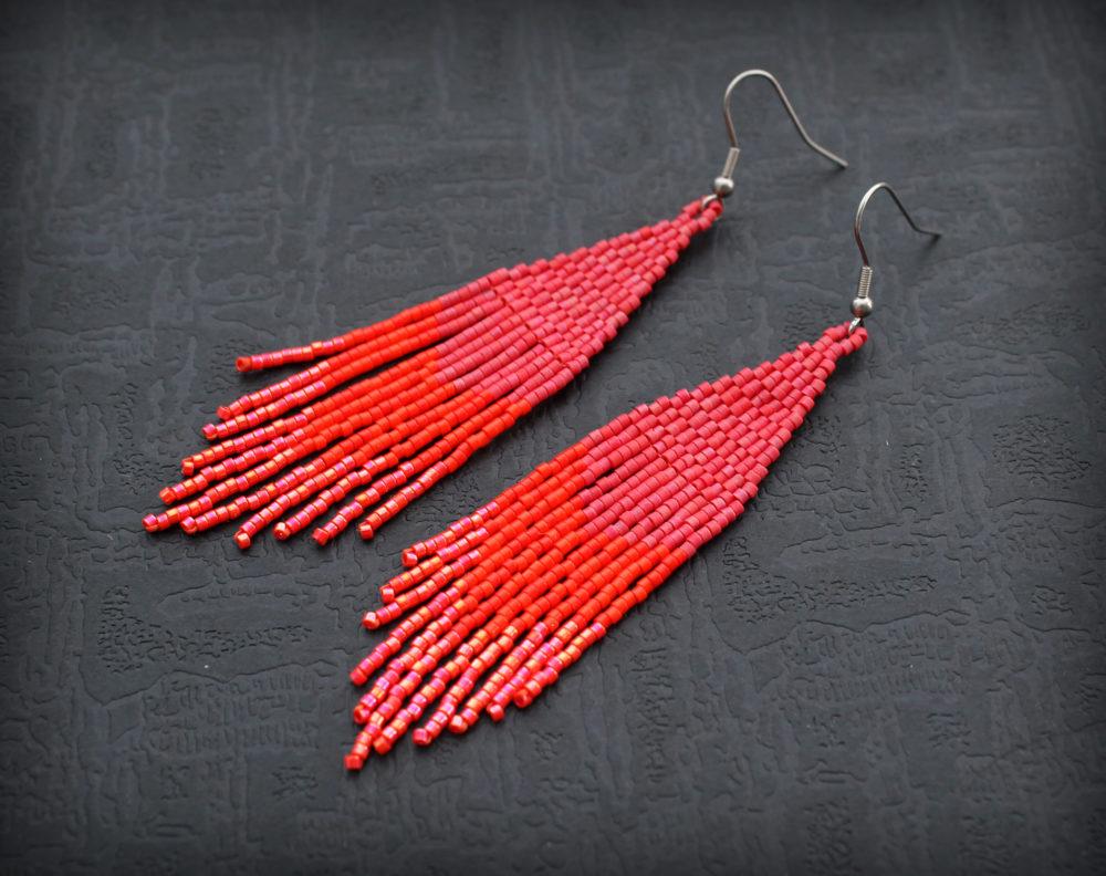 крупные красные серьги бижутерия красного цвета купить