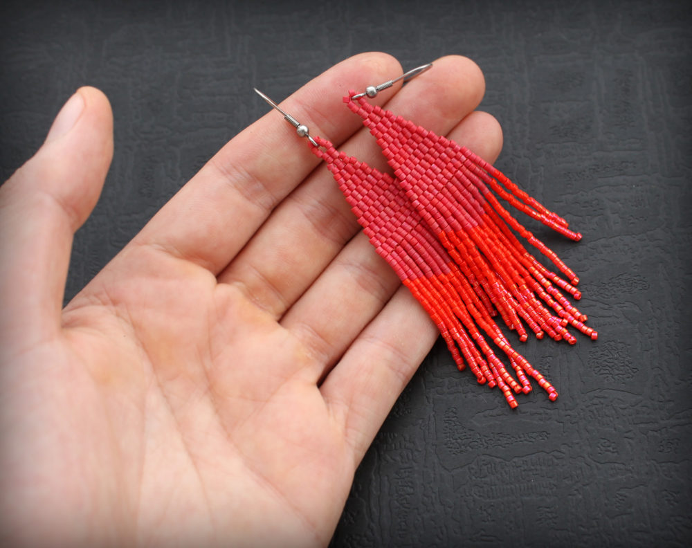 купить красные серьги бижутерия