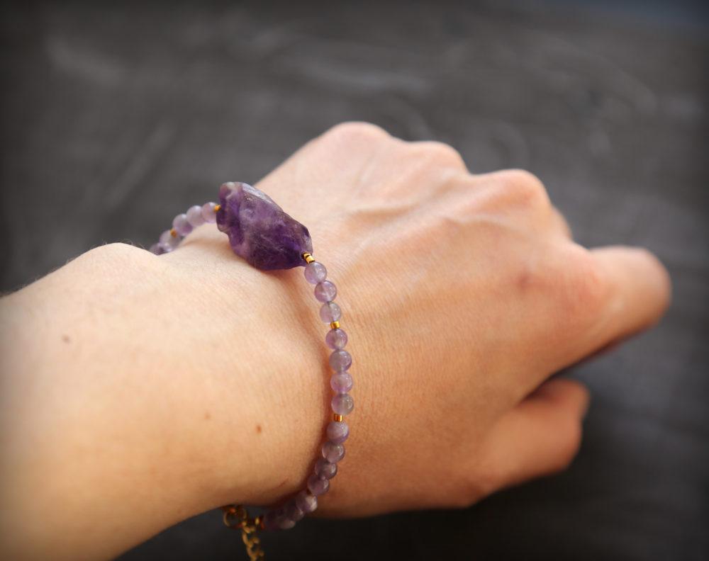 браслет +из натуральных камней аметист купить